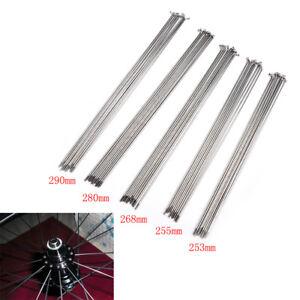 10PCS 14G Bike Bicycle Spokes Nipples 170~286mm Stainless Steel Spoke Sliver JHI