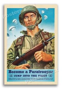 1940s WW2 Become a Paratrooper Army Airborne Recruitment Poster - 16x24