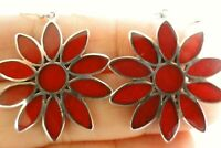 Red Fossil Coral Flower 925 Sterling Silver Dangle Drop Hook Earrings