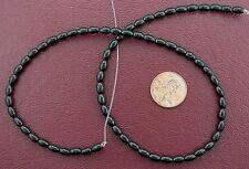 "6x4 Rice Gemstone Black Onyx Beads 15"" Strand"