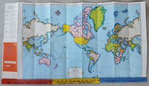 "Vintage 1958 Rand McNally Map of the World 36"" x 19.5"" Rexall Druggist Mountable"