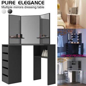 Corner Dressing Table Make Up Dresser Desk Foldable 3 Mirror 5 Drawer 3 Shelves