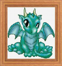 Cute Baby Green Dragon - Cross Stitch Chart - FREE POST