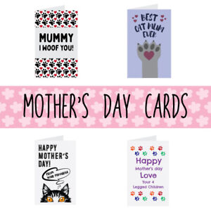 Happy Mothers Day Card From Dog & Cat Cute Best Dog Mum / Cat Mom Card Fur Baby