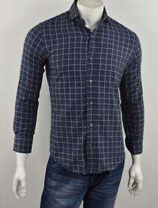 LEDBURY Soft Flannel SLIM FIT Blue Check Button Down Long Sleeve Shirt 15/ S