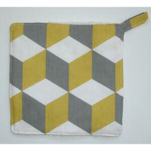 Geometric Kitchen Pot Grab Mat Pan Holder Surface Saver Pad Saffron Grey Cube