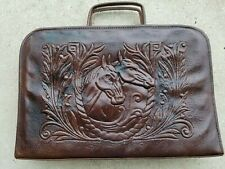 Equestrian Horses Embossed Vintage Leather  Portfolio Computer Briefcase