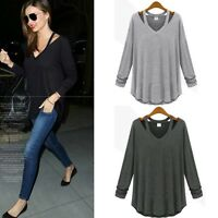 Sexy Womens Pullover Ladies V-neck Long Sleeve Shirt Blouse Loose Top T-Shirt UK