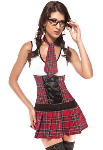 School Girl Schoolgirl Red Costume Outfit  Hen Night Fancy Dress