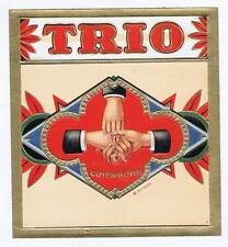 Trio, original outer cigar box label, handshake