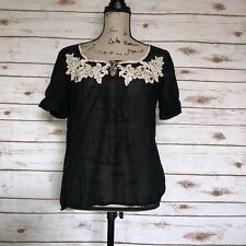 Elie Tahari Womens Size Small Silk Blend Embroidered Semi Sheer Blouse V Neck