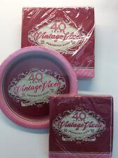 40th Birthday Lot Paper Napkins Plates Vintage Vixen Beverage Dinner Appetizer
