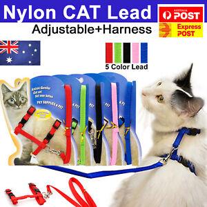 Pet Kitten Cat Walking Harness Lead Nylon Leash Safety Clip Adjustable Collar