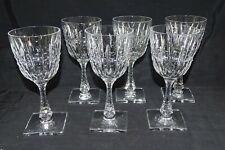 """Hawkes Triumph American Brilliant Cut Glass 6 Water Goblets 7 7/8"""" -Square Base"""