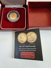 More details for royal mint 1957 full gold sovereign coin 22 carat with certificate
