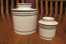 Pair Of Butter Crock Keepers ~ White Stoneware Navy Accents ~ Full Size & Mini