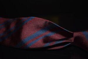 Vintage Brooks Brothers Italian Silk Deep Maroon Navy Spaced Repp Stripe Tie NR