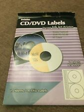 White CD/DVD Labels For Your Ink Jet Printer 15 Sheets / 30 Disc Labels
