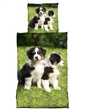 4 tlg Wende Bettwäsche 135 x 200 cm Hunde grün Microfaser Premiumdruck
