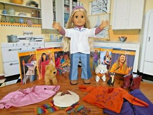 "18"" American Girl Julie Doll with her Retired Dogs*Extra Outfits*Books*Catalog"