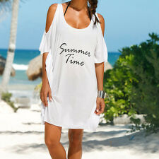 Plus Size Women Ladies Casual off Shoulder Summer Dress Beach Shirt Dresses Black XL