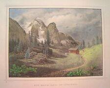 Marmolata Marmolada Dolomiten Tyrol Italien  kolorierter alter Stahlstich  1844