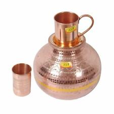 Pure Copper Matka Water Dispenser Container Pot with 1 Glass and 1 Mug Tumbler