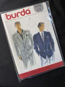 VTG Burda Pattern 5176 Mens Wide Collar Jacket  Uncut Sizes 46 48 50 52 54 56