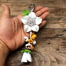 New White Genuine Leather Handmade Keychain KeyRing Flower Charm Purse Floral
