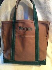 Vtg. Ll Bean boat and tote Usa canvas bag brown green 14� x 13.5� Vguc