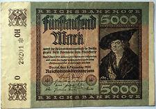 5000 Fünftausend Mark 1922 OH  Ro80b  Deutsches Reich - Inflation (40)