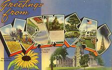 1941 KANSAS KS Large Letter Greetings Wheat Airport postcard
