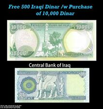10,000 Iraq Dinar & Receive A FREE 500 Dinar With Purchase - Set of one each
