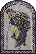 Lovely Lady Holding Jar Arched Twisted Border Home Decor Marble Mosaic FG155