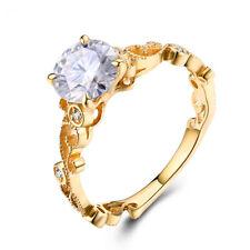 6.5mm Round 0.9ct White Topaz SI2 Diamonds Simple Filigree Ring 14K Yellow Gold