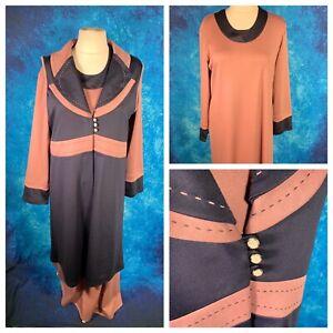 Ladies Pink/Navy Blue Dress Size EU 54 20 Uk Stretchy Long Maxi Long Sleeve NEW