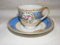 Vintage Porcelain Demitasse Cup Saucer Set Occupied Japan Blue Pink w Gold Trim