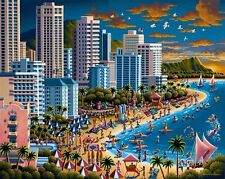 DOWDLE FOLK ART COLLECTORS JIGSAW PUZZLE WAIKIKI HAWAII 500 PCS #00171