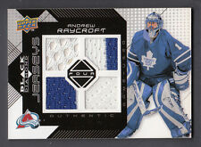 Andrew Raycroft 2008-09 UD Black Diamond Quad Game Used Multi Color Jersey Card