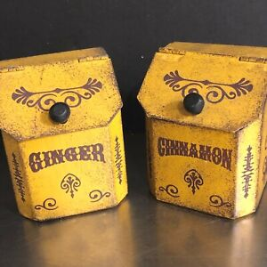 VTG Metal Spice Containers Ginger Cinnamon Yellow Brown Kitchen Storage Set 2