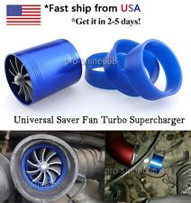 """2.5"""" Universal Double Supercharger Blue Turb Air Intake Fuel Gas Saver Fan #8"""