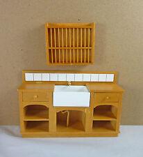 Dollhouse Miniature Medium Euro Country Kitchen Sink & Plate Rack Set, J31025GO