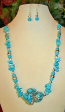 LARGE MAGNESITE NUGGET HANDMADE NECKLACE with MAGNESITE STONES + EARRINGS