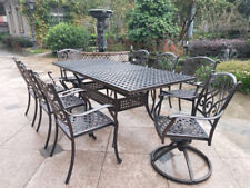 9 piece outdoor dining set Rubaiyat Expandable Table cast aluminum furniture.