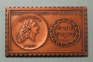 1793 United States Flowing Hair Chain Large Cent Numistamp Medal 1977 Mort Reed