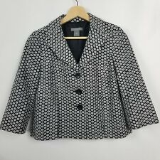 Ann Taylor Womens Jacket Size 4P Black White Embroidered Floral Eyelet Lined