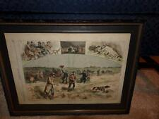HARPERS WEEKLY PAGE 789 FIELD TRIAL OF DOGS NEAR WESTPORT LAKE FRAMED W/ COLOR