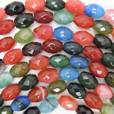 """14mm faceted watermelon tourmaline agate barrel beads 15.5"""" strand"""