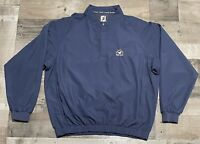 Footjoy FJ Golf Pullover 1/4 Button Long Sleeve Blue Wind Shirt Men's Size L