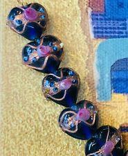 Vintage wedding cake glass beads cobalt loose 12 mm
